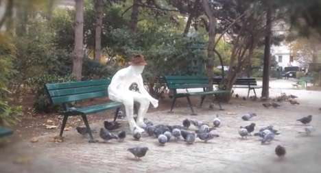Bird-Feeding Cellophane Figures - The Banksy Feed the Pigeons Installation Has a Morbid Message