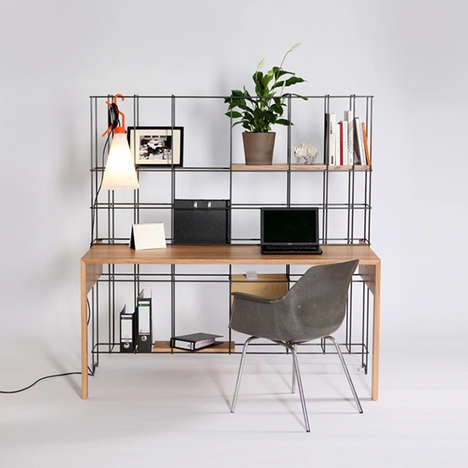 Wireframe-Like Workstations - The Din Desk by Gompf and Kehrer Provides Useful Grid Shelving