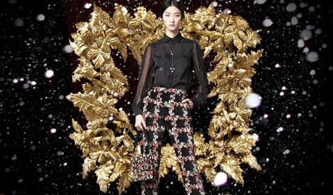 Darkly Festive Fashion Ads - The Dolce & Gabbana Holiday 2013 Campaign Stars Marine Deleeuw & Ji Hye