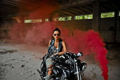 Metaphoric Biker Girl Photos - 'Beauty & the Beast' Features a Grunge Princess and Her Bike