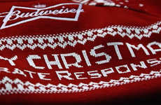 Tweet-Generated Holiday Sweaters - Budweiser UK's Twitter Knitting Machines Make Sweaters