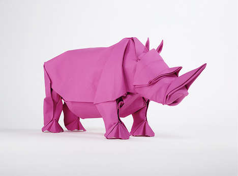 Life-Sized Paper Elephants - This Life Elephant Is Made of a Single Piece of Paper