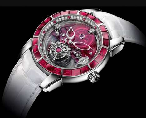 Brilliant Ruby Timepieces - This Feminine Ulysse Nardin Watch is Bedecked with Rubies