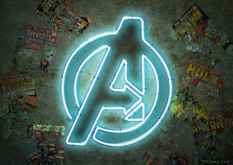 Electric Superhero Bar Signs - These Famous Superhero Logos are Rendered into Neon Signs