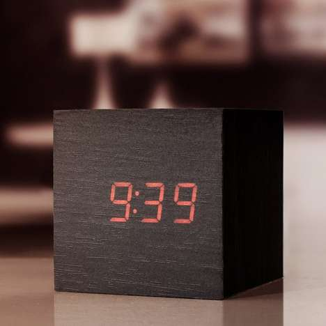 Clap-Activated Alarm Clocks - The Kikkerland Wooden Alarm Clock Turns on with a Clap