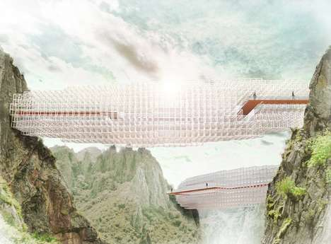 Airy Cloud-Inspired Bridges - The Concept Cloudbridge by A>T Floats Between Mountains