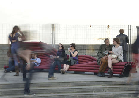 Plaited Pipe Benches - The Meetube is Public Seating Made From Twisted Corrugated Tubes