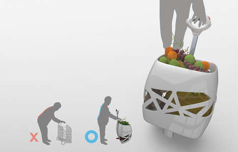 Lifting Shopping Trollies - The Unbent Grocery Cart Hoists Up Your Items So You Don