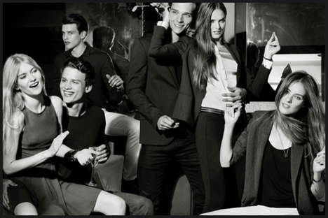 Seductive Monochromatic Campaigns - The Armani Exchange Holiday Campaign is Festive and Flirtatious