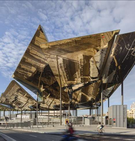 Gilded Leaved Pavilions - Els Encants Vells by b720 Arquitectos Casts Golden Reflections