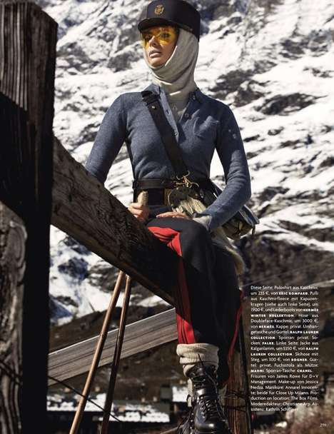 Mountainside Winter Editorials - This Winter Wear Vogue Germany Editorial is called