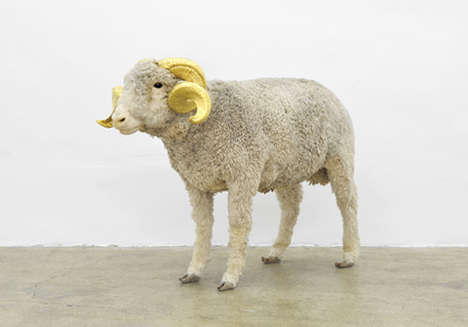 Luxurious Sheep Sculptures - Artist Nicolas Milhe Created These Sheep Sculptures with Golden Horns