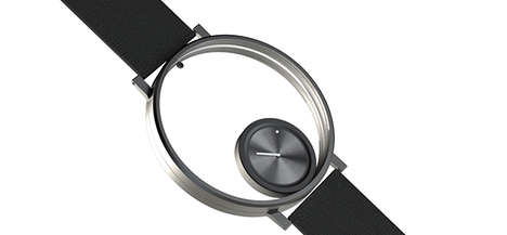 Orbiting Analog Timepieces - The Small Followatch Face Rotates by Gravity Around a Larger Ring