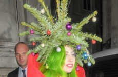 Festively Botanical Celeb Headwear - The Fabulous Lady Gaga Dressed as a Christmas Tree