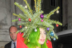 The Fabulous Lady Gaga Dressed as a Christmas Tree
