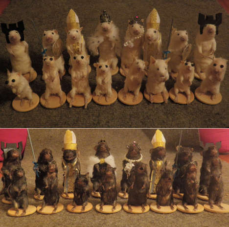 Morbid Mouse Chess Sets - A Taxidermist Created an Entire Chess Set Made Up of Dead Mice