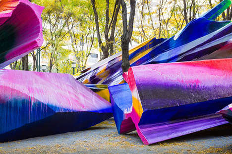 Massive Multi-Coloured Sculptures - Just Two of Us by Katharina Grosse is Vibrantly Interactive