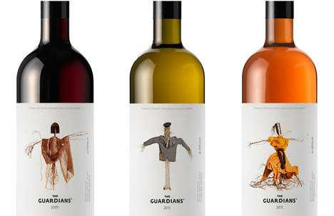 Crisp Scarecrow Branding - The Guardians Wine Packaging Features the Image of Original Vine Stewards