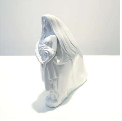 Statuette-Infused Shoes - These White Shoes Have a Statue Carved on the Heel