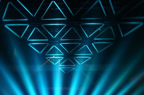 Triangular Light Sculptures - GRID by Christopher Bauder Changes Colors and Formations