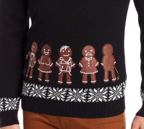 Corrupt Cookie Christmas Sweaters - The Bad Boy Gingerbread Line Up Sweater is Guilty as Sin