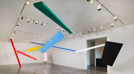 Gravity-Defying Wooden Installations - Artist Joel Shapiro Creates Brightly Colorful Sculptures