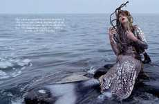 Beached Mermaid Editorials - Kristen McMenamy Plays an Edgy Mermaid in This W Magazine Series