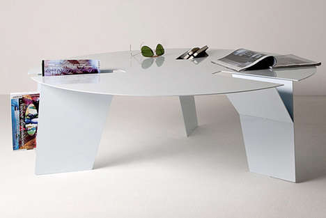 Functional Slotted Furnishings - Ypsilon Tables Have Forked Legs That Serve to Store Assorted Items