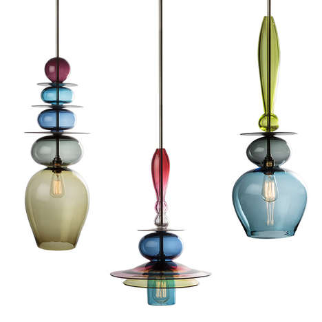 Eccentric Glass Chandeliers - Tryptych Stacks by Esther Patterson are Colorful and Exotic