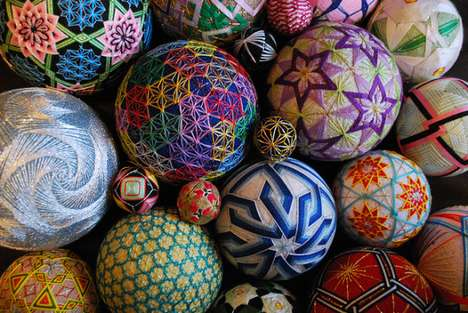 Kaleidoscopic Stitched Hand Balls - These Temari Creations Were Made by a 92 Year Old Woman