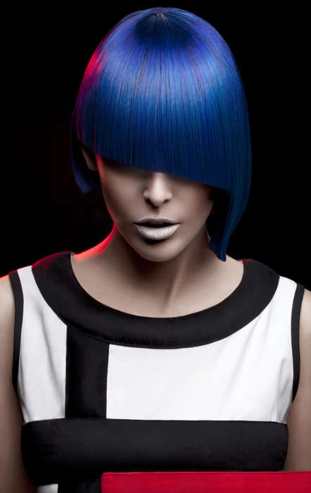 Primary Colored Bob Cuts - This Punkish Series by Milica Shishalica is called Piet Mondrian