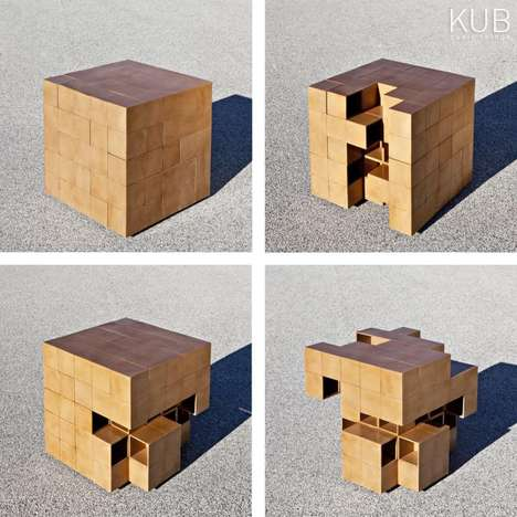 Rubik's Cube-Like Furniture - The Puzzle Table by Alberto Dias Ribeiro is a Practical Game