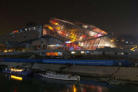 Illuminated Museum Construction Sites - The Musee des Confluences Puts on a Colorful Display
