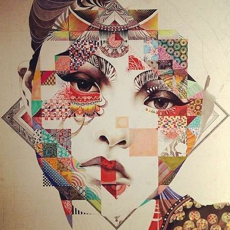 Quilted Oriental Beauty Illustrations - These Minjae Lee Art Designs Feature Unique Patterns