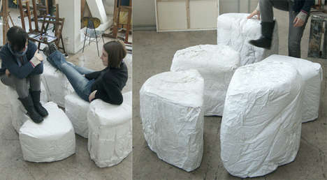 Cheese Slice Seating - The Brie Chairs Have Been Prepared From Unrecyclable Paper