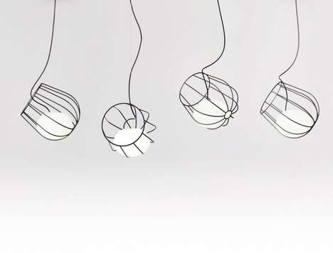 Wireframe Lightbulb Baskets - The Light Container Visually Assigns Volume and Weight to Illumination