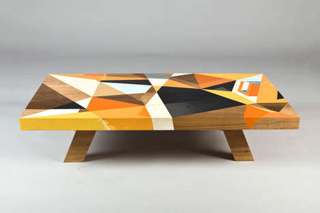 Geometrically Painted Tabletops - The East Editions 001 Coffee Table is Painted by Vans The Omega