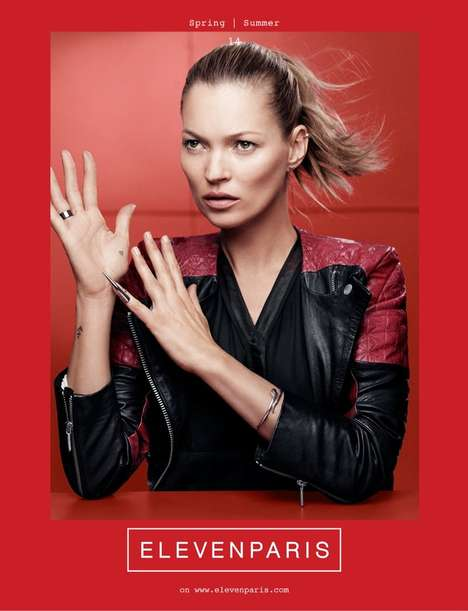 Colorful Rocker Fashion Ads - The ElevenParis Spring 2014 Campaign Stars Supermodel Kate Moss