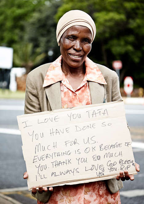Hero Eulogy Photographs - George Qua-Enoo Photographs South Africans Holding Messages for Mandela