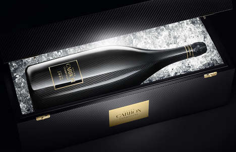 Carbon-Coated Champagne Bottles - Cuvee Champagne Bottles Vintage Wine in Carbon Fibre