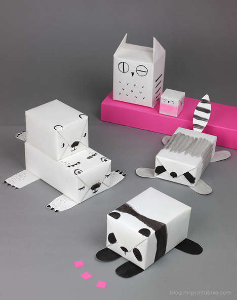 Achromatic Animal Gift Wrap - This Mr. Printables DIY Turns Plain Paper into Fun Animal Gift Wrap