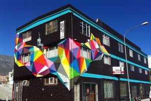 Artist Okuda Created Lots of Surreal Rainbow Street Art in Spain