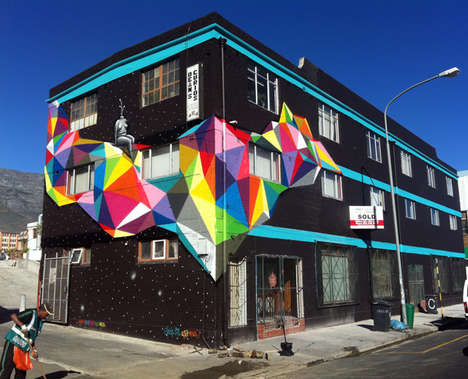 Rainbow-Injected Graffiti - Artist Okuda Created Lots of Surreal Rainbow Street Art in Spain