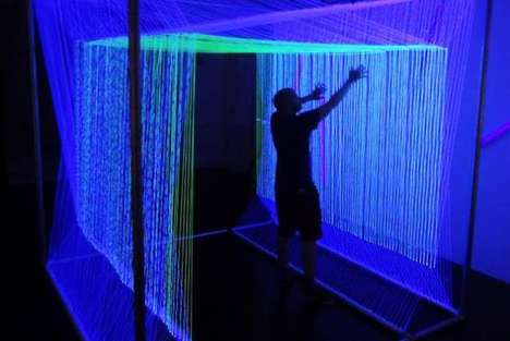 Harp String DJ Booths - The NEON House Installation is Visually and Audibly Immersive