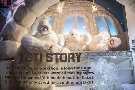Yeti Storybook Window Displays - The Saks Fifth Avenue Holiday Window is an Interactive Experience