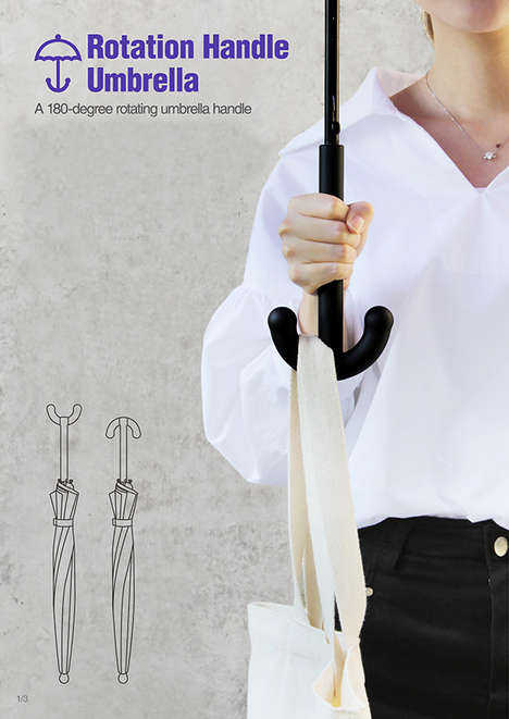 Hooked Parasol Handles - The Rotation Handle Umbrella by Da Som Kim is Doubly Practical