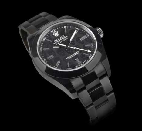 Black Diamond Skull Timepieces - The Rolex Milgauss Revenge by Titan Black Has a Striking Skull
