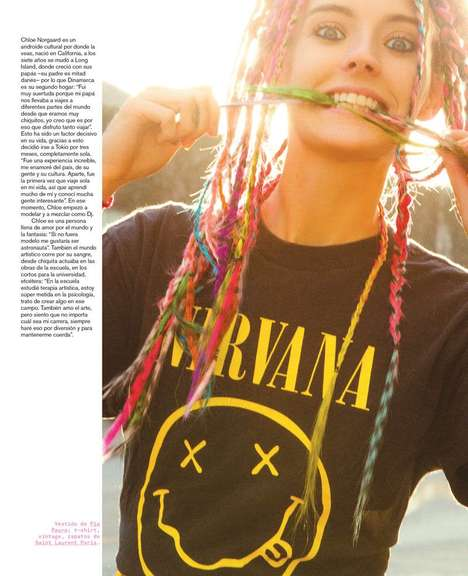 Rainbow-Hued Braided Hairstyles - The Nylon Mexico December 2013 Issue Stars Chloe Norgaard