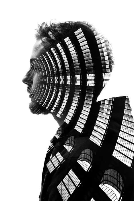 Hybrid Human Architecture Portraits - Paleari Combines Iconic Buildings with Silhouettes of People