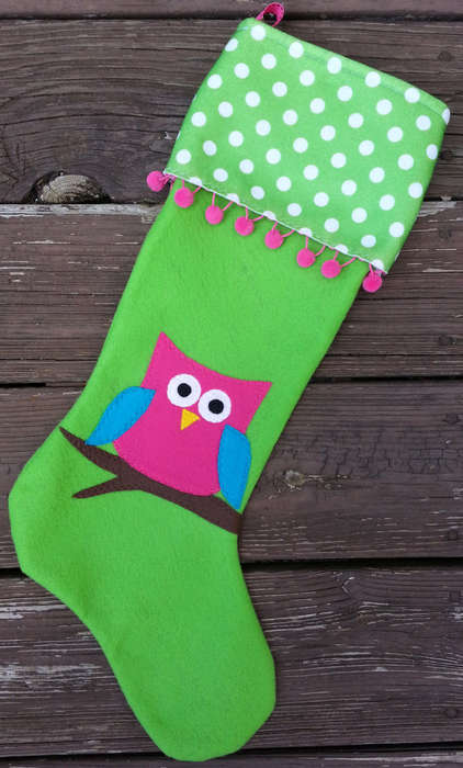 Owl Christmas Stockings - This Colorful Christmas Stocking From